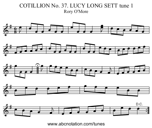 COTILLION No. 37. LUCY LONG SETT tune 1 - staff notation