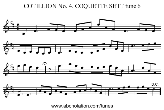 COTILLION No. 4. COQUETTE SETT tune 6 - staff notation