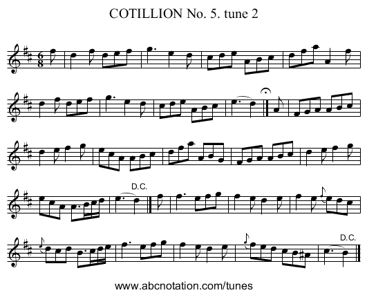 COTILLION No. 5. tune 2 - staff notation