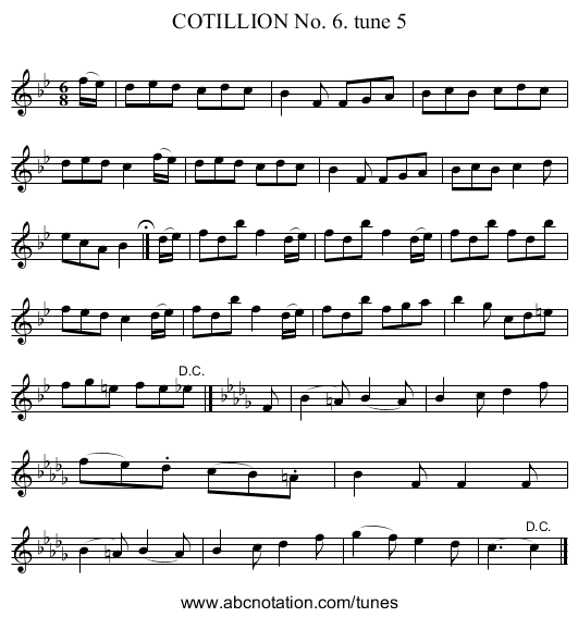 COTILLION No. 6. tune 5 - staff notation