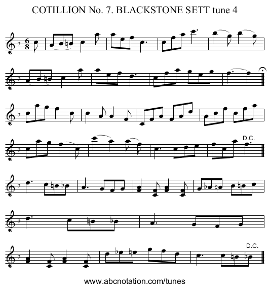 COTILLION No. 7. BLACKSTONE SETT tune 4 - staff notation