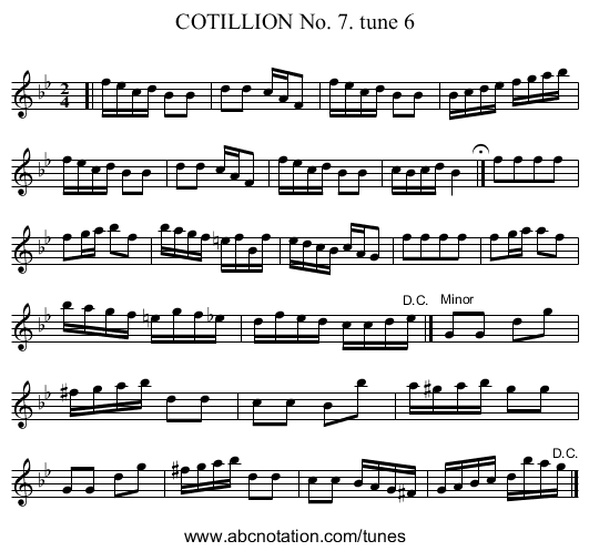 COTILLION No. 7. tune 6 - staff notation