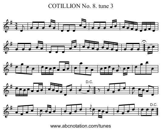 COTILLION No. 8. tune 3 - staff notation