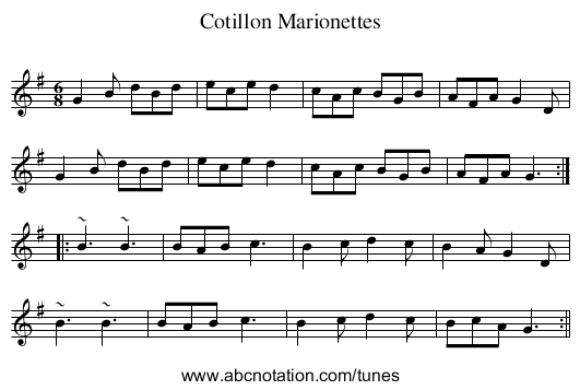 Cotillon Marionettes - staff notation