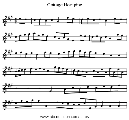 Cottage Hornpipe - staff notation