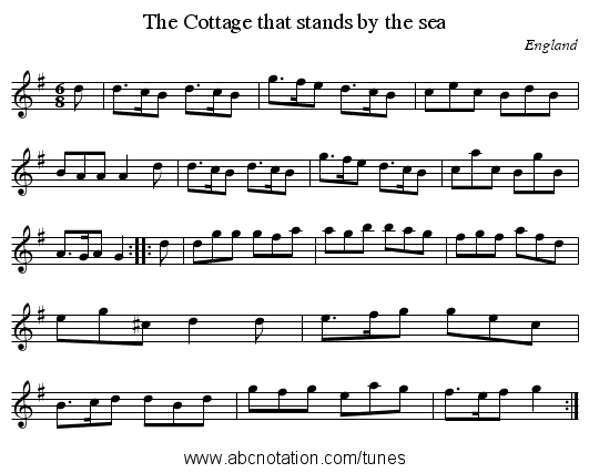 Cottage that stands by the sea, The - staff notation