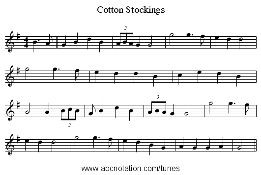 Cotton Stockings - staff notation