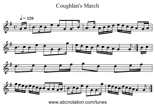 Coughlan's March - staff notation
