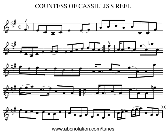 COUNTESS OF CASSILLIS'S REEL - staff notation