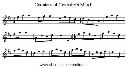 Countess of Coventry's March - staff notation