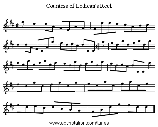 Countess of Lothean's Reel. - staff notation