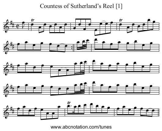 Countess of Sutherland's Reel [1] - staff notation