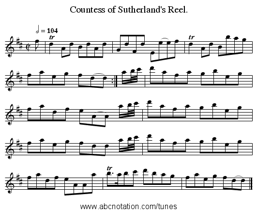 Countess of Sutherland's Reel. - staff notation