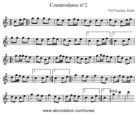 Countrodanso n°2 - staff notation
