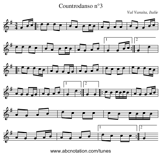 Countrodanso n°3 - staff notation