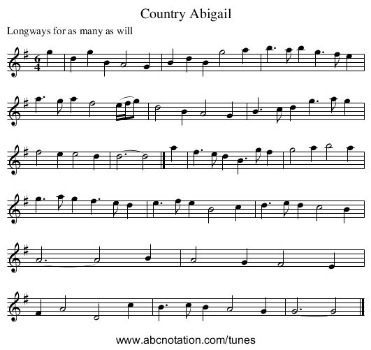 Country Abigail - staff notation