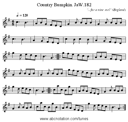Country Bumpkin. JaW.182 - staff notation