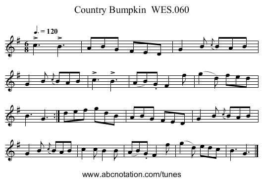 Country Bumpkin  WES.060 - staff notation