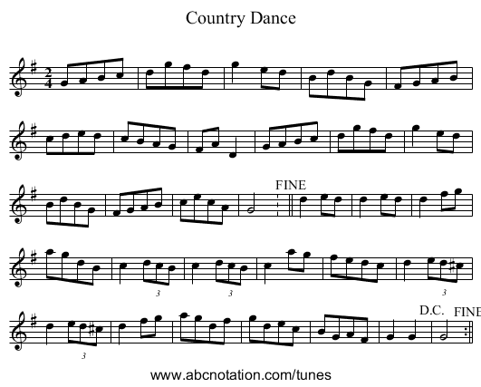 Country Dance - staff notation