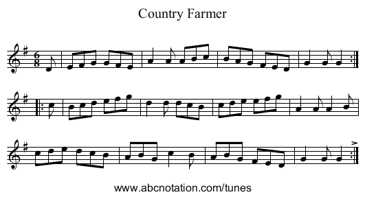 Country Farmer - staff notation