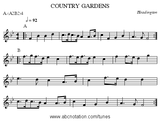 COUNTRY GARDENS - staff notation