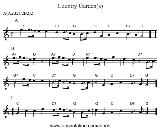 Country Garden(s) - staff notation