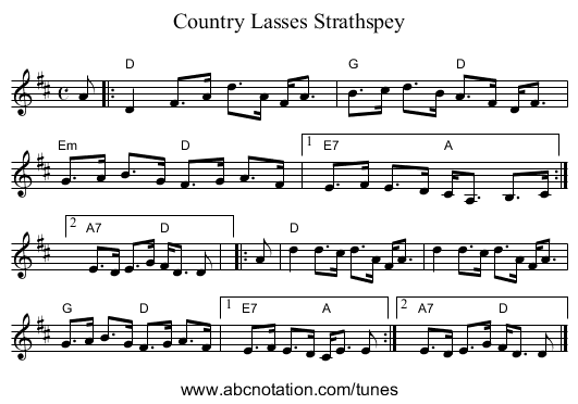Country Lasses Strathspey - staff notation
