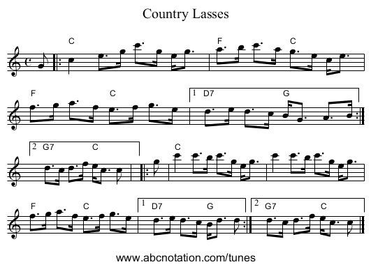 Country Lasses - staff notation