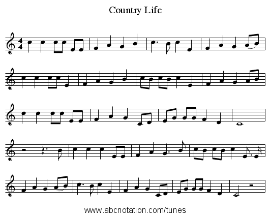 Country Life - staff notation
