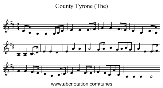 County Tyrone (The) - staff notation