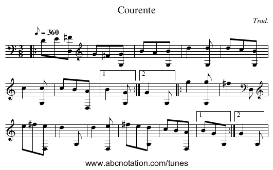 Courente - staff notation