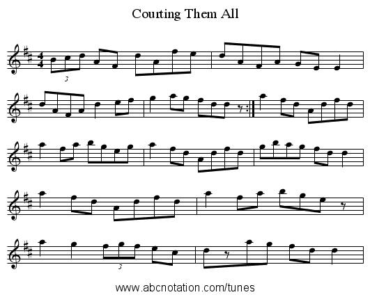 Courting Them All - staff notation