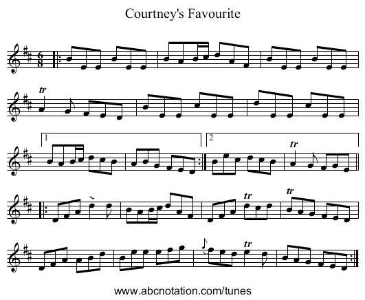 Courtney's Favourite - staff notation