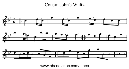 Cousin John's Waltz - staff notation