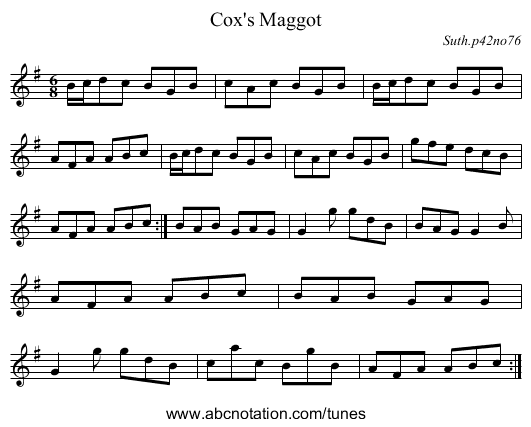 Cox's Maggot - staff notation
