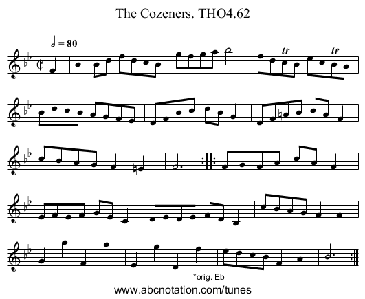 Cozeners. THO4.62, The - staff notation