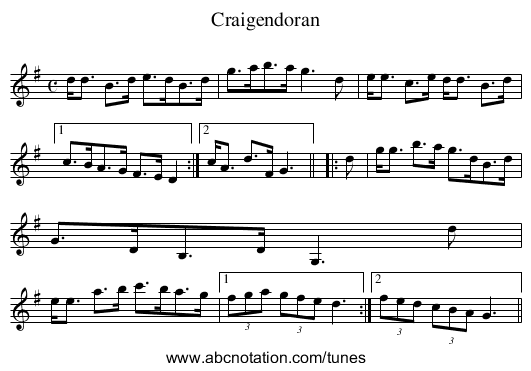 Craigendoran - staff notation