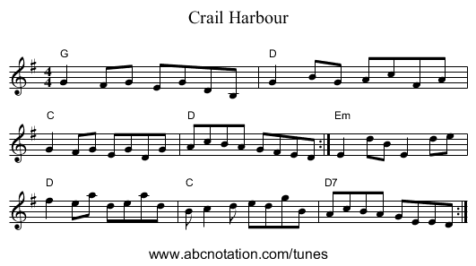 Crail Harbour - staff notation