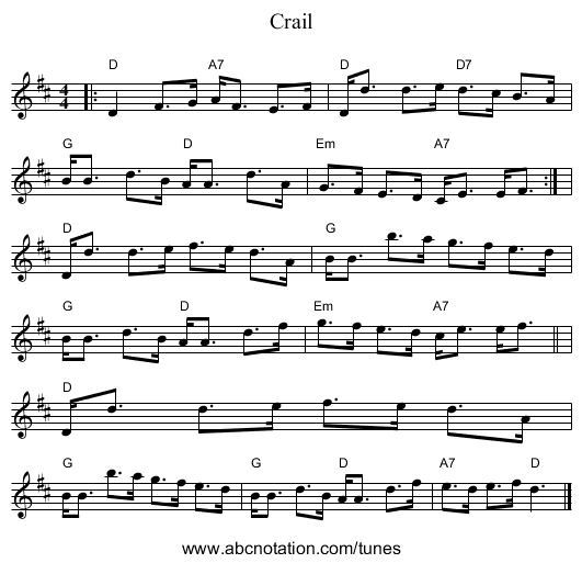 Crail - staff notation