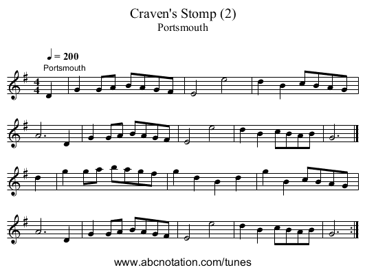 Craven's Stomp (2) - staff notation