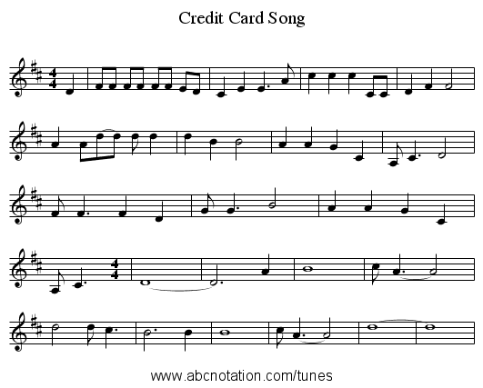 Credit Card Song - staff notation