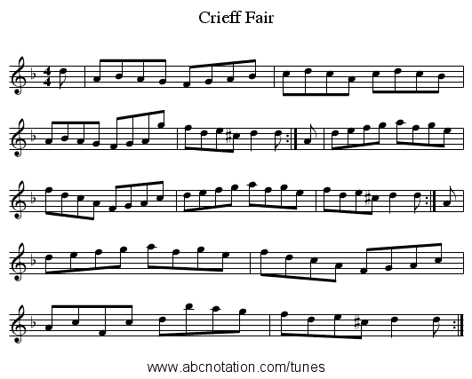 Crieff Fair - staff notation