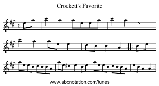 Crockett's Favorite - staff notation