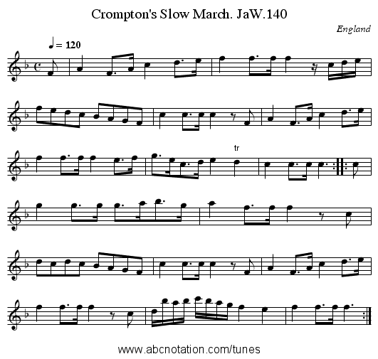 Crompton's Slow March. JaW.140 - staff notation