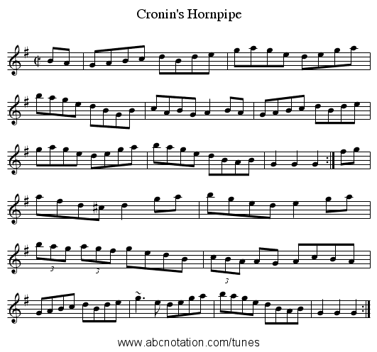 Cronin's Hornpipe - staff notation