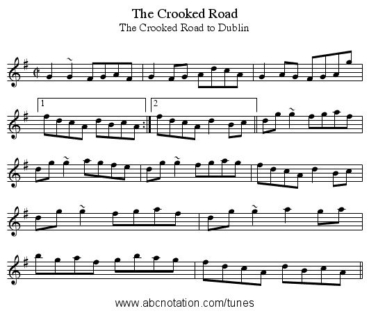 Crooked Road, The - staff notation