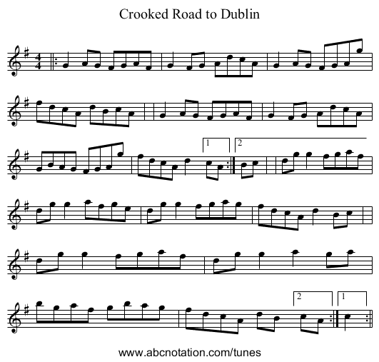 Crooked Road to Dublin - staff notation