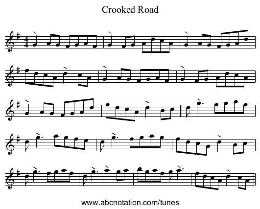 Crooked Road - staff notation