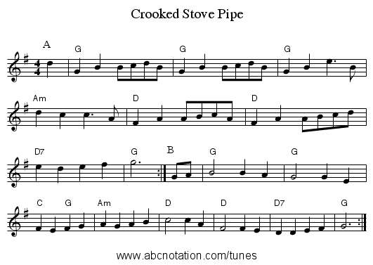 Crooked Stove Pipe - staff notation