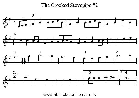 Crooked Stovepipe #2, The - staff notation